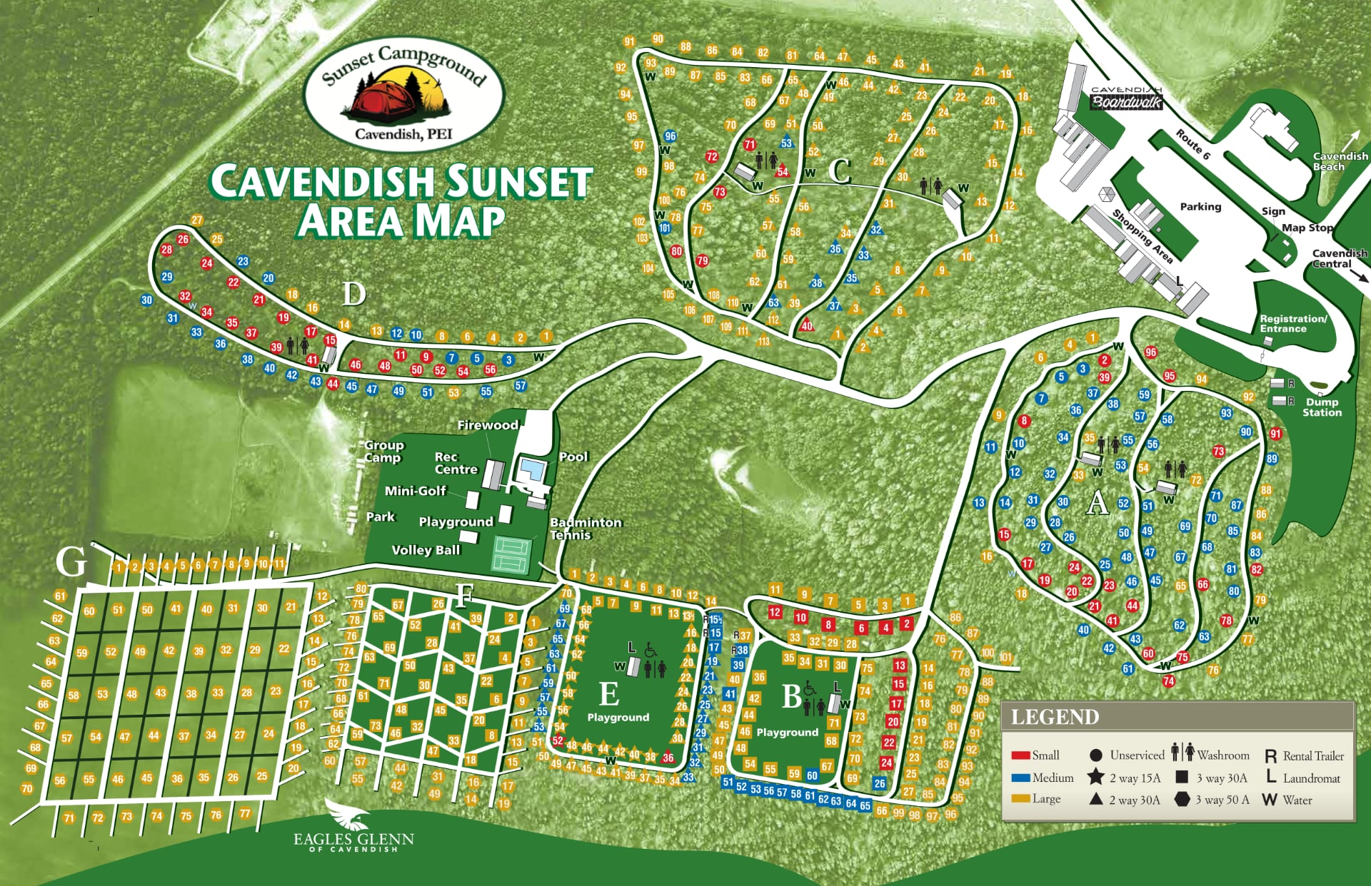 Sunset Campground Cavendish Map